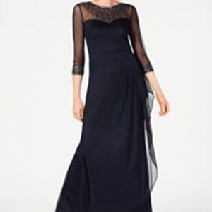 Macy's Black Sweetheart Sheer Floor-length Gown